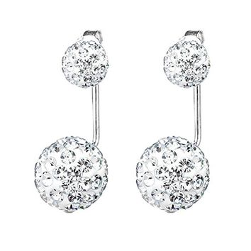 BodyJ4You Earrings Jacket Ear Stud Reverse Crystal Paved Ball Jewelry Set
