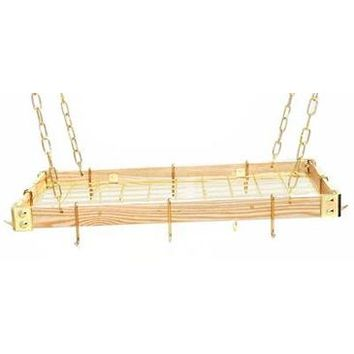 Rogar KD Rectangular Hanging Pot Racks with Grid In Light Wood and Brass