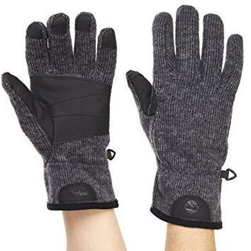 Timberland Men's Ribbed Knit Wool Blend Glove with Touchscreen Technology, Charcoal, L