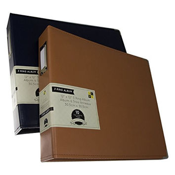 """2 DCWV 3-Ring Leatherette Scrapbooking Albums Photo Binders 12x12"""" Acid Free Pages"""