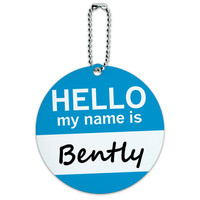 Bently Hello My Name Is Round ID Card Luggage Tag