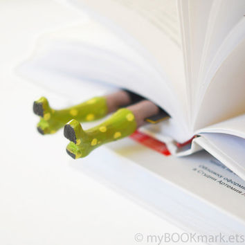 bookmark Lime green boots with white dots Legs in by MyBookmark