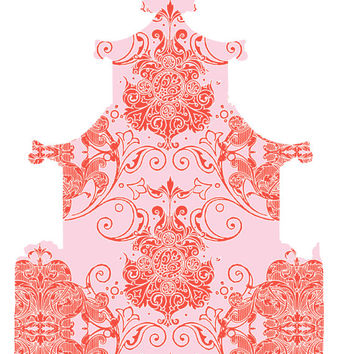 "Wall Decal  - PAGODA - Swirly Damask - Orange Red on Pale Pink   -  Size 36"" x 61.25″"