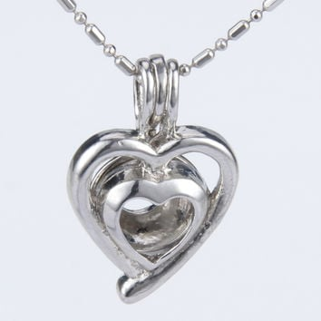 Double Heart Pearl Cage Pendant with Chain