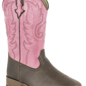 Roper Kids Boot Western Sqtoe Faux Leathr Sole Boots Brown Pink Faux Leather