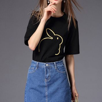 Bunny Embroidered T-Shirt