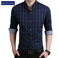 2017 New Fashion Casual Men Shirt Long Sleeve Business Slim Fit Plaid Shirt Men High Quality Mens Dress Shirts Men Clothes 5XL