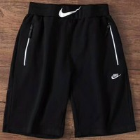 NIKE Pocket zipper design on both sides of fashion embroidery men's pants F-ZDL-STPFYF Black