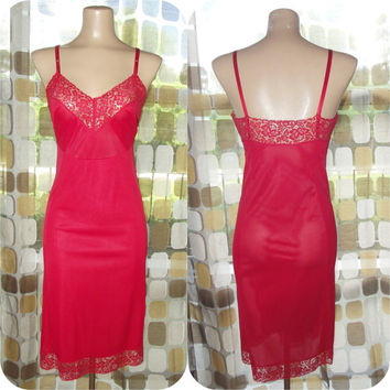 Vintage 50s Full Slip | 1950s Red Full Slip | Styled by Gilbreath | Scarlet Red | Vintage Lingerie | Nylon & Lace | Size 34 M/L