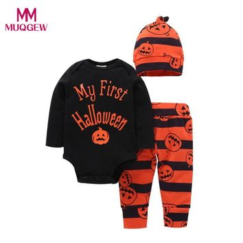 Newborn Baby Infant Girl Boy Pumpkin Halloween Romper Top+Pants+Hat Fashion Cute Halloween Clothes Sets for Kids Boy Girl