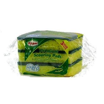 SPONGE WITH SCOURING PAD BACKING- 3 PIECE PACK