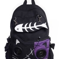 Goth Punk Rock Emo Kitty Cat & Fishbone Music Speaker Backpack