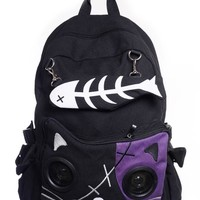 Banned Apparel Goth Punk Rock Emo Kitty Cat & Fishbone Music Speaker Backpack