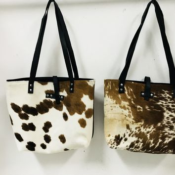 cow fur wide tote