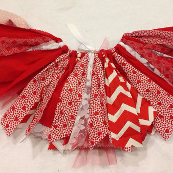 Red Valentine's Day Tutu, Red Heart skirt, shabby chic fabric and tulle tutu skirt, red tutu, Valentines Day Choose your size