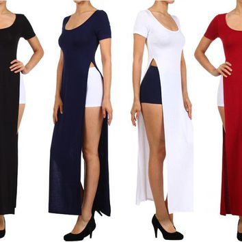 Sexy Round Neck Short Sleeve Tee Shirt Double Bodice High Split Open Maxi Dress
