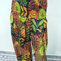 Black Floral Harem Trouser HolidayYoga Boho Gypsy Indian women Ladies Printed Wide Legs Pants