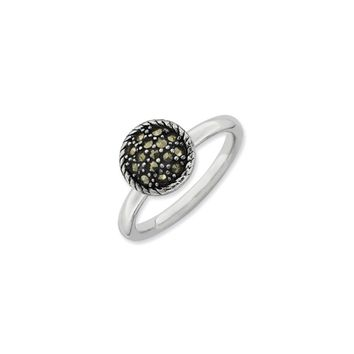 2.25mm Sterling Silver Stackable Marcasite Round Ring