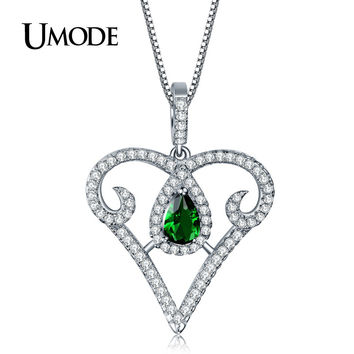 UMODE 2016 New Love Heart Design 925 Sterling Silver 6x4mm 0.5ct Cubic Zirconia Necklaces Jewelry for Women Collares YN0031