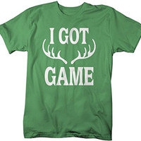 Shirts By Sarah Men's Funny Hunting T-Shirt - I Got Game Antlers