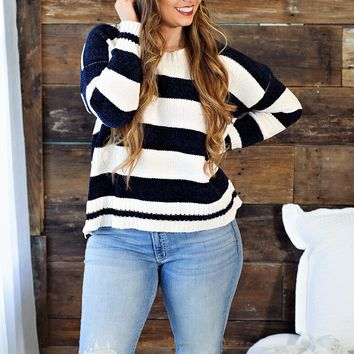 * Soft as a Cloud Chenille Sweater - Navy & Ivory