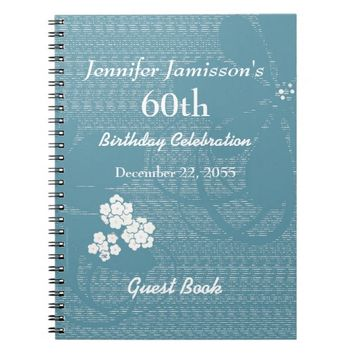60th Birthday Party Guest Book Blue, White Floral