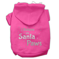 Screenprint Santa Paws Pet Hoodies Bright Pink Size Med (12)
