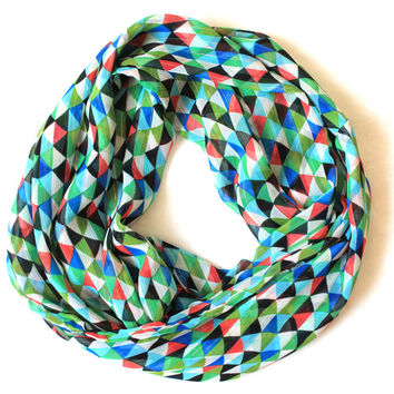 geometric green scarf,infinity scarf, scarf, scarves, long scarf, loop scarf, gift