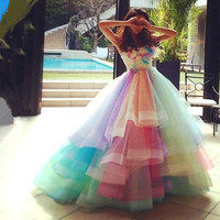 Colorful 2016 New Sexy Summer Sweetheart Rainbow Organza Tulle Ball Gown Prom Dresses Long Evening Party Dress vestido de festa