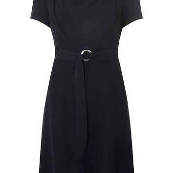 Navy Cowl Neck Skater Dress | Dorothyperkins