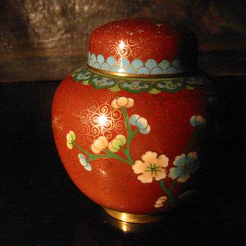 China Cloisonne Ginger Jar Floral Enameling