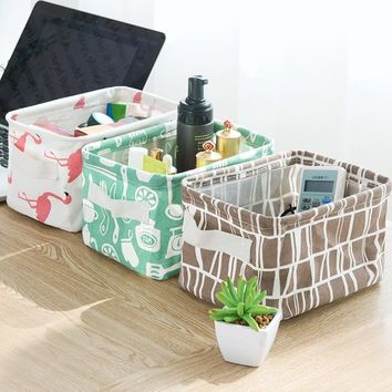 High Quality Flamingo Animal Linen Desk Storage Box Holder Jewelry Cosmetic Stationery Organizer Case
