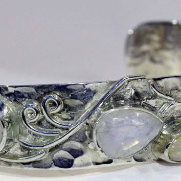 Sterling Silver Rainbow Moonstone and Ethiopian Opal Cuff Bracelet
