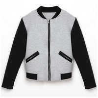 Gray And Black Contrast Zip Up Long Sleeve Bomber Jacket