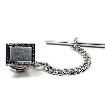 Vintage Tie Tack, Silver Tone Rectangle with Border, Mid Century 1960s 60s, Mens Formal, Tie Jewelry, Tie Pin, Mens Gift