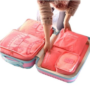 6Pc Candy Color Travel Packing Cube Organizer Bags