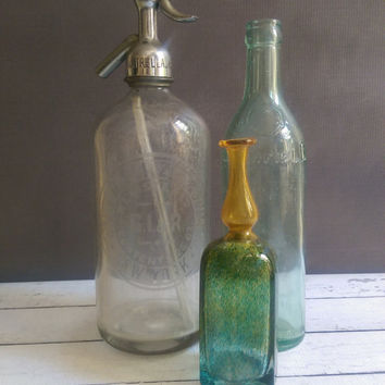 New York Antique Seltzer Bottle/ Antique Siphon Soda Bottle/ Etched Glass Seltzer Bottle/ New York Antique
