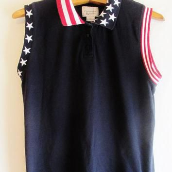 Vintage 1990's American Flag Sleeveless Polo Shirt