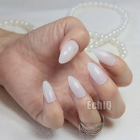 Shiny Stiletto Fake Nail Ivory White False Nail DIY Nail Art Full Cover Acrylic Manicure Tools 24Pcs 27P