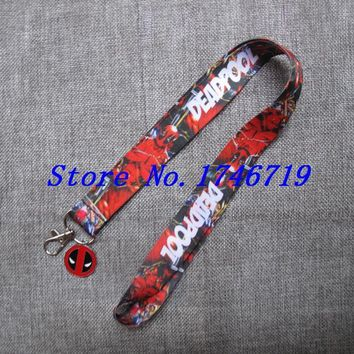 Retail New 1 pcs cartoon Deadpool  pendant with Lanyard  Neck Strap  Holders With Key Chain ST-9