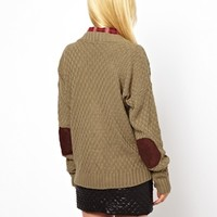 Glamorous Cable Cardigan With Elbow Patches at asos.com