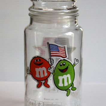 M & M Olympics glass jar, vintage glass jar, 1984 Los Angeles Olympics vintage collectible jar, candy jar, vintage collectible glass jar