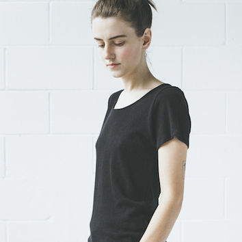 Objects Without Meaning - Scoop Neck Tee in Black