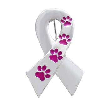 Ribbon Pin Silver Color  Metal  Paw prints Brooch For Women Men Dog Lover Suit Shirt Collar Lapel Pins Fashion Jewelry Gift