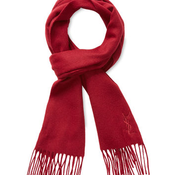 "Yves Saint Laurent Women's Cashmere Blend Fringe Scarf, 64"" x 11.5"" - Red"