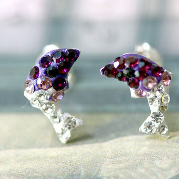 Purple,Crystal Earrings,Crystal Stud Earrings,Whale earrings,Lucky earrings,Silver earrings,Silver Stud,Swarovski earring,Swarovski Stud
