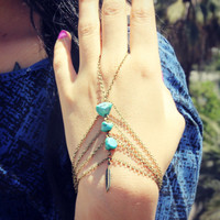 turquoise slave bracelet with feather