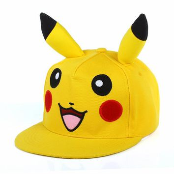 Trendy Winter Jacket Japanese Cartoon Animation Cute Lovely Pikachu Pokemon Flat IR Snapback hats & Caps dad Hat for Men Women baseball cap boy bone AT_92_12
