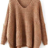 Khaki V Neck Batwing Sleeve Dip Hem Oversized Sweater