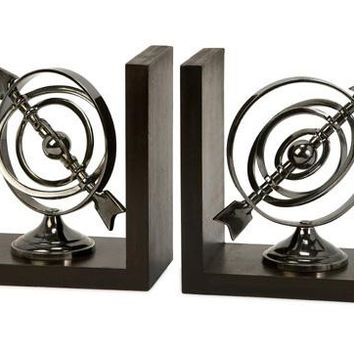 2 Armillary Bookends - Chrome Look